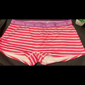Under armor pink and purple striped boy cut shorts